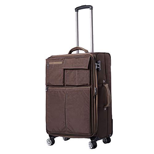 SHAN SHAN Trolley Canvas GroßE KapazitäT Tragbare GeschäFtsreisen Mute Caster Travel Case (Braun)
