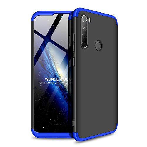 """Kit Danet Capa Capinha Anti Impacto 360 Full Para Xiaomi Redmi Note 8T Com Tela 6.3"""" Polegadas - Case Acrílica Fosca Com Película De Vidro Temperado (Preto com azul)"""