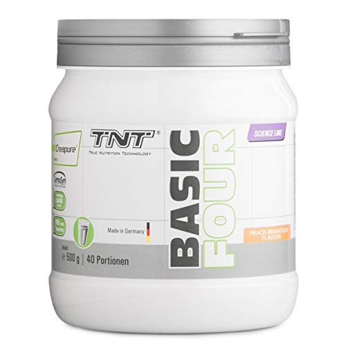 Basic Four – 500g Pre Workout Booster – Mit Creapure Creatin-Monohydrat, Tyrosin, Beta-Alanin – Trainingsbooster (Peach-Maracuja)