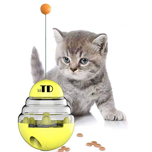OOTD Cat Tumbler Toy Ball, Cat Slow Feeder Ball, Kitten Roly-Poly Treat Toys, Cat Toys Interactive Food Dispenser, Kitty Slow Food Dispensing Puzzle Toy, Slow Eating Interactive Cat Toy Ball, Yellow