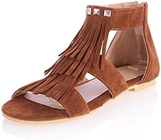 90391985fadb23 MENGLTX 2019 Style Bohême Grande Taille 34-43 Franges Femmes Chaussures  Sandales D'été