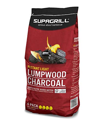 Supagrill CPL BBQ Charcoal Barbecue Briquettes Coal Fuel Instant Light Lumpwood Cooking Grill (Instant Light Lumpwood Charcoal - 4x 850g)