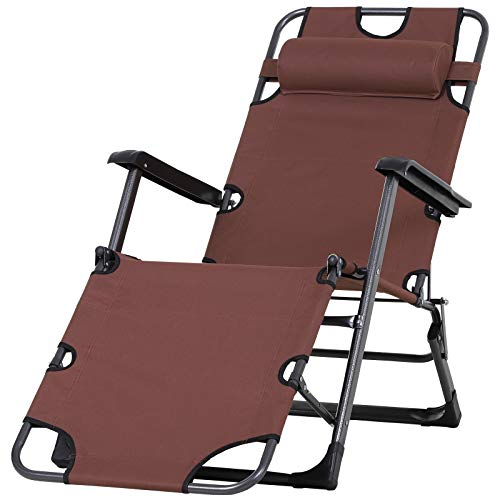 Outsunny Metal Frame Outdoor Pool Sun Lounger Curved Reclining Chair 120°/180° w/Head Pillow, Brown