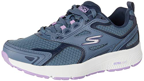 Skechers Damen Go Run Consistent Sneaker, Blau (Blue Leather/Synthetic/Purple Trim/Textile Blpr), 38 EU