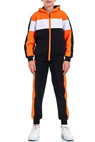 XRebel Kinder Junge Jogginganzug Sportanzug Modell W32 (36-Schwarz mit Neon Orange, 164-170(16), numeric_164)