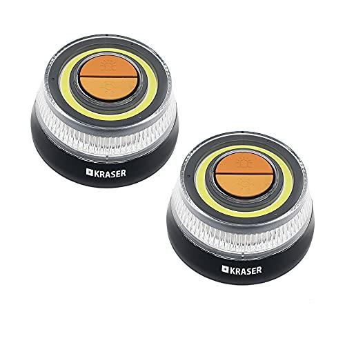 KRASER KR400V16P2 Pack 2 Luz Emergencia Coche Homologada DGT 2 en 1 con Linterna LED de Doble Intensidad y señal V16 de Gran Visibilidad, Base Imantada, Pilas AAA, Gancho Colgador, Negro, 2 Unidades