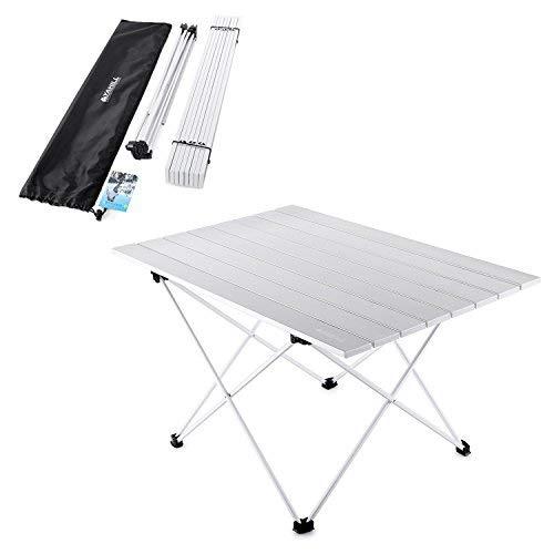 YAHILL Mesa Plegable Camping de Aluminio Mesa Playa de Acampar Enrollable de 3 tamaños con Bolso para cargarla para picnics Dentro y Fuera, Senderismo, Viajes, Pesca (Mesa Astilla de Aluminio- XL)