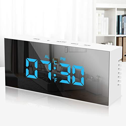 KIPIDA Digitaler Wecker LED, Tragbarer Spiegelwecker USB Wiederaufladbarer Reisewecker Digitaluhr Spiegelalarm Tischuhr LED Alarm Wecker mit Temperaturanzeige/Datum/Snooze/Nachtmodus für Schlafzimmer