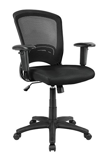 Mid-Back Ergonomic Office Chair Mesh Computer Desk Chair with Adjustable Arms and Lumbar Support (Black)