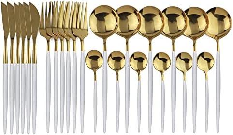 Générique DOMA - Cubiertos de mesa (24 piezas, acero inoxidable, con caja de regalo, para 6 personas), color blanco