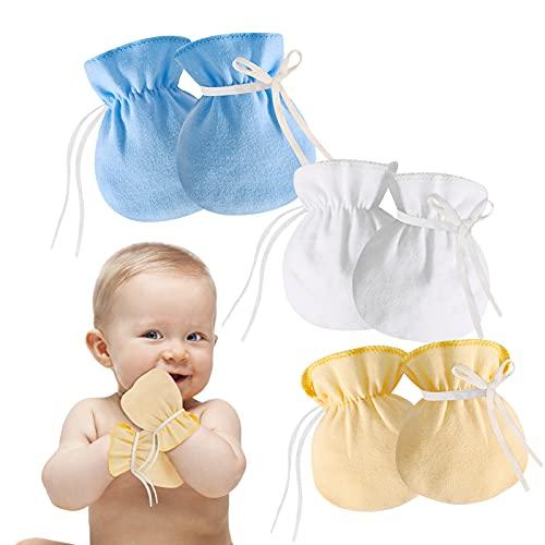 Hifot Neugeborenes Baby Baumwollhandschuhe No Scratch Fäustlinge Infant Kleinkind Jungen Mädchen 3 Paar Soft Anti Scratch Fäustlinge für Kleinkind Schutz