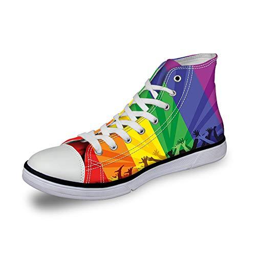 GULTMEE High Top Classic Casual Canvas Sneakers Schnürschuhe Casual Walking Schuhe, Perfekter Geschmack von frisch gebrühtem Kaffee Aquarell Stil Muster Aromatische Getränke – Damen, (7), 42 EU