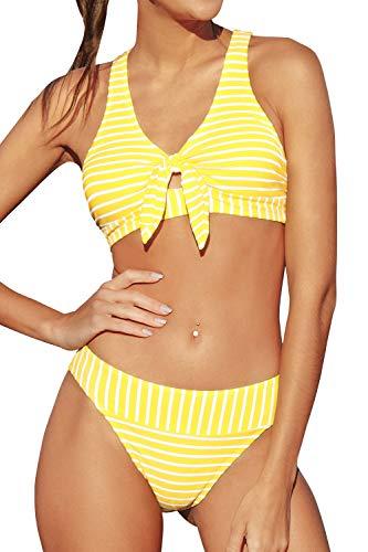 CUPSHE Gelb Gestreifter Bikini Set mit Knoten, M