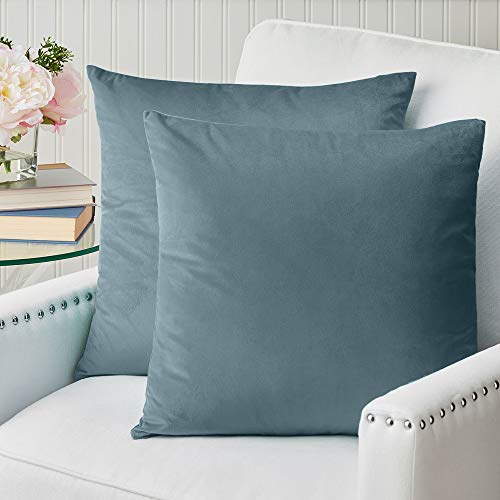 The Connecticut Home Company Velvet Throw Pillow Covers, 18x18 Set of 2, Soft Decorative Square Pillowcases, Luxury Home Décor Accent Cushion Cases for Livingroom Couch, Bedroom Sofa Bed, Grayish Blue