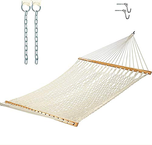Castaway Living 13 ft. Double Traditional Hand Woven Cotton Rope Hammock with Free Extension Chains & Tree Hooks, Accommodates Two People with a Weight Limit of 450 lbs.