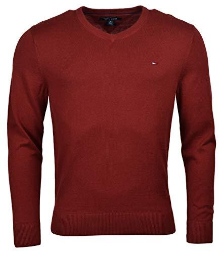 Tommy Hilfiger Mens Pima Cotton Cashmere V-neck Sweater (S, Red)
