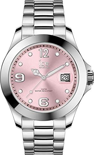 ICE-WATCH Ice Steel Light Pink - Reloj Plateado para Mujer con Correa de Metal, 016892 (Medium)