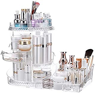 360 Degree Rotating Crystal adjustable Jewelry Cosmetic Perfumes Display Stand Box with Lipstick holders