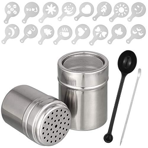 Firtink 2er-Pack Edelstahl-Pulverstreuer Mehlstreuer Puderzucker Streuer mit 16 Pcs Kaffee Cappuccino Schablonen,1 Löffel, 1 Coffee Art Pull Pin