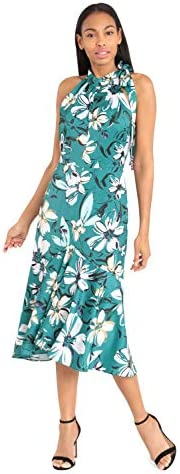 Maggy London Women s Whimsical Floral Printed Charmeuse Sleeveless Fit and Flare Green Jewel product image
