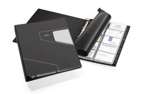 Durable 246258 Visitenkarten Ringbuch Visifix Pro A4, für 400 Visitenkarten, inkl. Register A-Z, anthrazit
