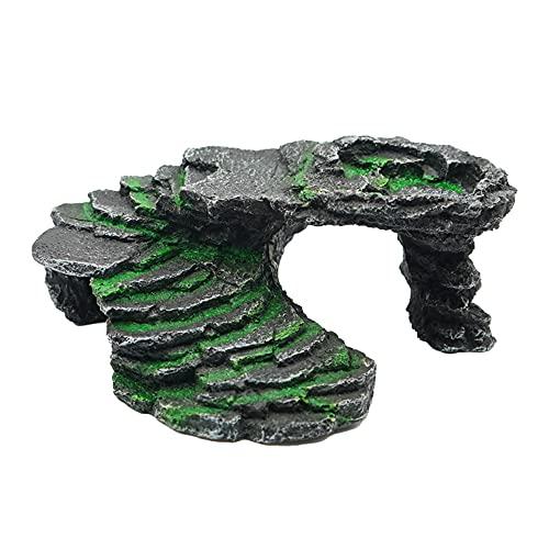 Rampa para Tortugas Plataforma Tortugas de Agua Tortuga Terraza Agujero la Tortuga Piel Reptil Resina Bronceado Roca Dragón Barbudo Accesorios Decoración Reptiles