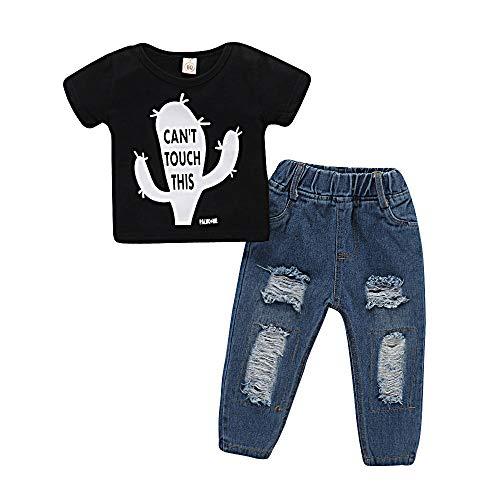 XJ Unisexe bébé Nouveau-né Enfants Vêtements Longues Jeans à Manches Courtes Sweat-Shirt Costume Outfit Noir linéaire