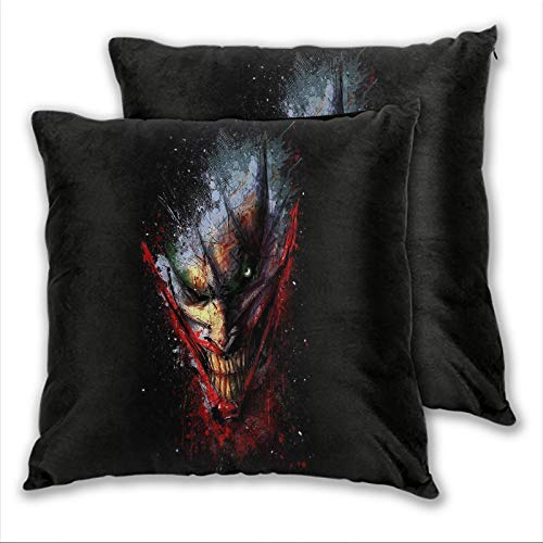 anzonto Funda de almohada cuadrada The Dark Knight Joker Death of the Family Horror Smiley Joker Cool para sofá, cama, silla, decorativo, 45 x 45 cm, 2 piezas