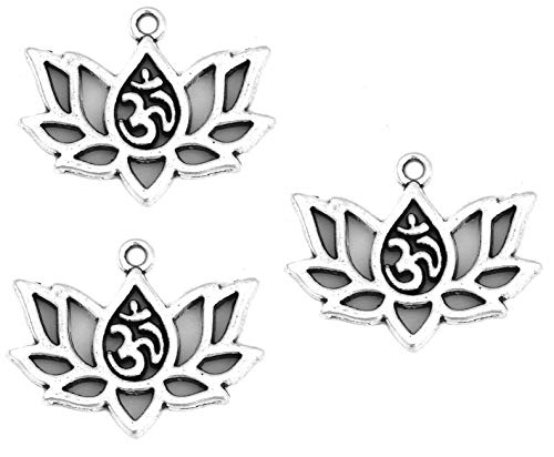 JGFinds Lotus Flower Charm Om Yoga Chakra Pendent - 45 Pieces of Silver Tone DIY Jewelry Making Kit
