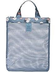 حقيبة الصالة الرياضية شبكة حمل حقيبة عمل خفيفة الوزن قابلة للطي حقيبة مفيدة للرياضة شاطئ السباحة السباحة الأسرة نزهة التسوق (لون عشوائي)