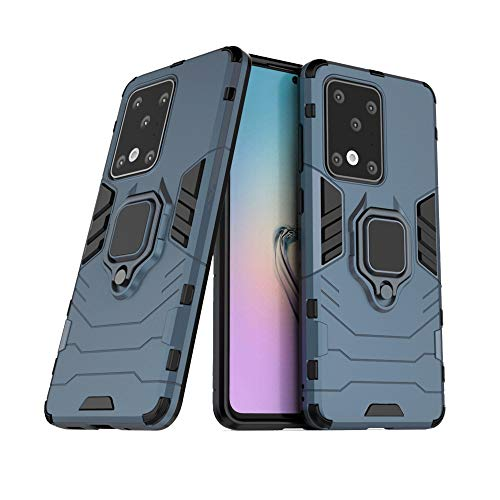 Funda Samsung S20 Ultra,Sopatree Compatible para Samsung Galaxy S20 Ultra Carcasa Silicona PC Metálico Montaje Anillo Agarre Soporte Antichoque Caja Protector,Azul