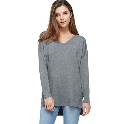 A+D Women's Oversized Extra Soft V-Neck Pullover Sweater Long Sleeved Sweater Top with Hi-Low