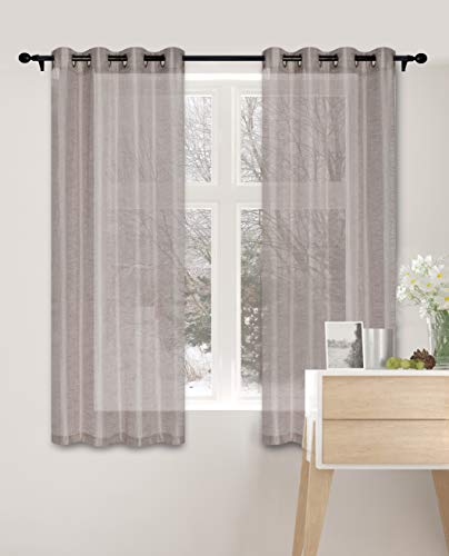 """Curtainsville: Park- Semi Sheer Faux Linen Window Curtains Grommet-Top 2 Panels for Living Room Bedroom (Dark Taupe, 53"""" W x 66"""" L)"""