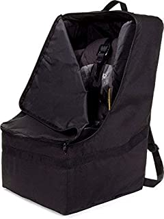 ZOHZO Car Seat Travel Bag — Adjustable, Padded Backpack for Car Seats — Car Seat Travel Tote — Save Money, Make Traveling Easier — Compatible with Most Name Brand Car Seats (Black with Black Trim)