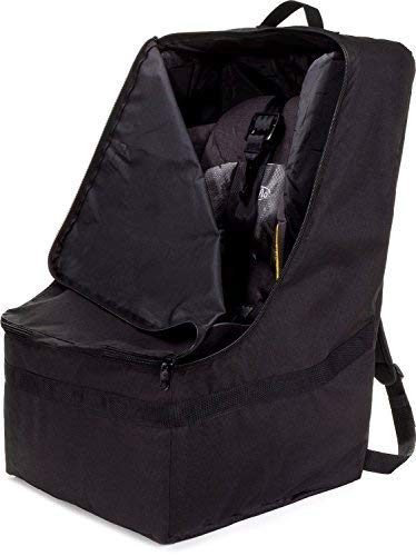 Zohzo Car Seat Travel Bag - Adjustable Padded Backpack for Car Seats (Black)