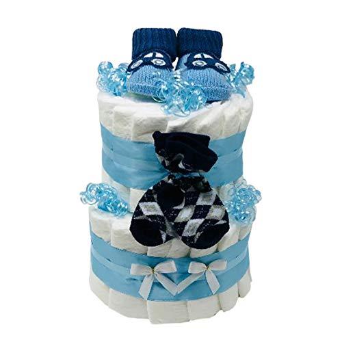 Windeltorte Booties Boy in blau für Jungen. Geschenk zur Geburt, Taufe oder Babyparty. Geschenkfertig in Celophan verpackt.