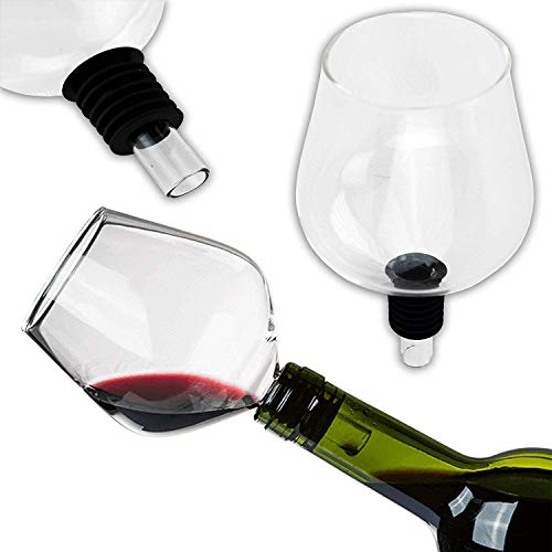 KS-11 Wein Flaschenaufsatz aus Hochwertigen Glas mit Silikondichtung ideal als Weinglasaufsatz für Party - Hochzeit - JGA - Wine Glass - Party Gadget - lustiger Scherzartikel