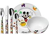 WMF Disney Mickey Mouse - Vajilla para niños 6 piezas, incluye plato, cuenco y cubertería...