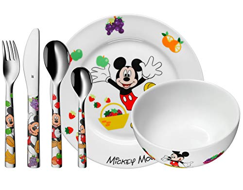 WMF Disney Mickey Mouse Kinder Geschirrset 6-teilig, Kindergeschirr mit Kinderbesteck Edelstahl, ab 3 Jahre, Cromargan poliert, spülmaschinengeeignet
