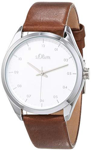 s.Oliver Damen Analog Quarz Uhr mit Leder Armband SO-3734-LQ