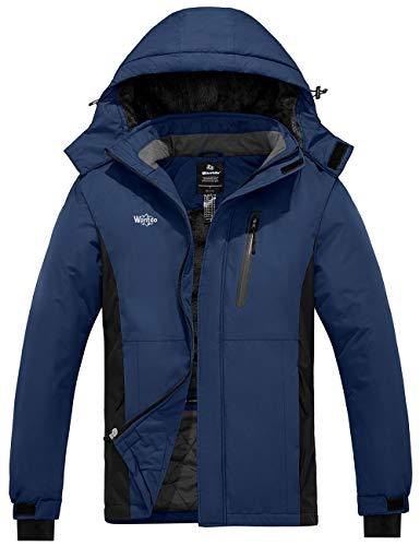 Wantdo Men's Ski Jacket Mountain Insulated Outdoor SnoW Coat Black Dark Blue M
