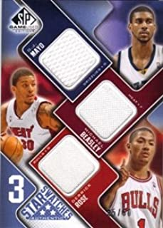 2009-10 SP Game Used 3 Star Swatches 50#3SMBR O.J. Mayo Derrick Rose Michael Beasley Jersey /50 Trading Card