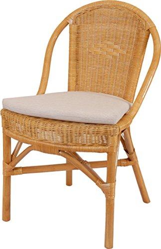 korb.outlet Stapelbarer Rattan-Stuhl Klassik in der Farbe Honig inkl. Polster, Küchenstuhl aus Natur Rattan