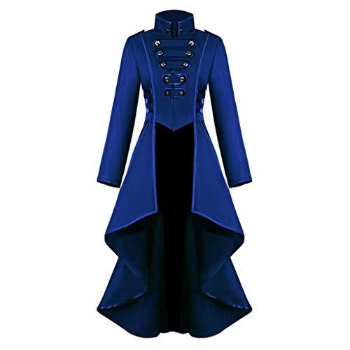iHENGH Damen Gothic Steampunk Button Lace Korsett Halloween Kostüm Mantel Frack Jacke(Lila, L)