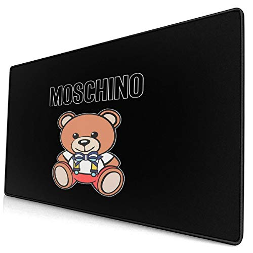 Extended Gaming Mouse Pad with Stitched Edges, Long XXL Mouse Pad (16X30 in), Desktop Pad Keyboard Pad, Non-Slip Base, Waterproof, for Office and Gaming, Office and Home Moschino-Teddy-bear1