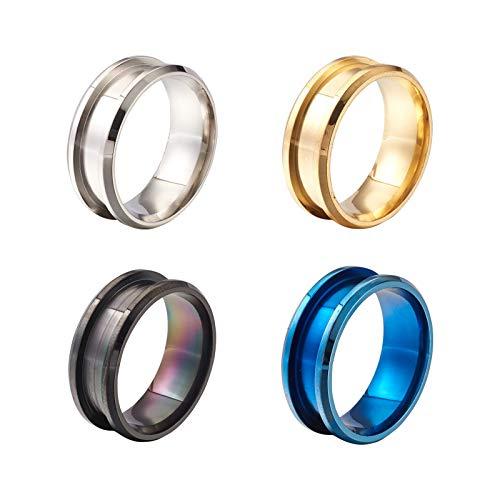 Beadthoven 4 anillos de dedo de acero de titanio 316L de 8 m