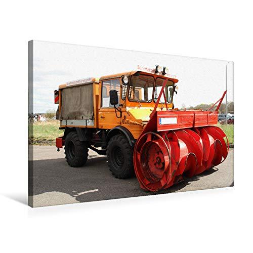 Premium Textil-Leinwand 75 cm x 50 cm quer Unimog mit Schneefräse