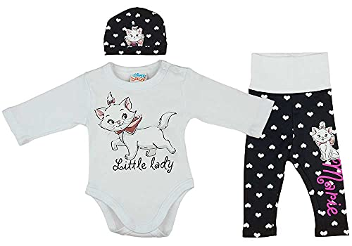 Baby Mädchen Set 3teiler Body Baby-Hose Mütze in Größe 56 62 68 74 80 Marie die Katze Disney (Modell 1, 62)