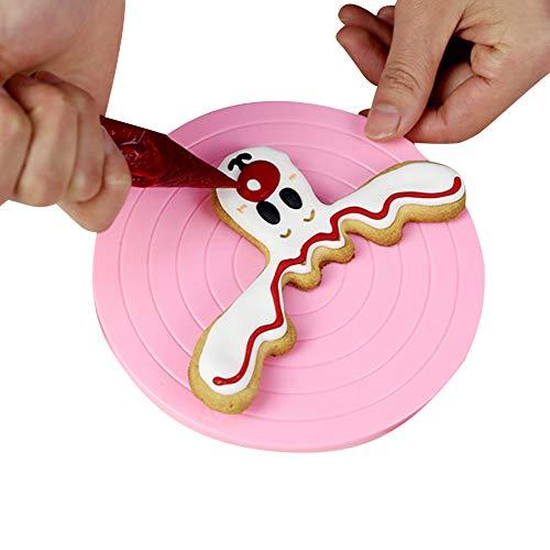 Plato giratorio de 14 cm para decoración de tartas, para decoración de tartas, mesa giratoria, para glaseado, galletas, fiesta, mesa giratoria, espátula de cocina, herramienta de cocina, color rosa, talla única