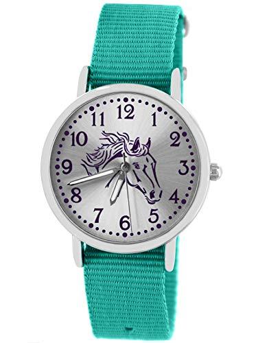 Pacific Time Mädchen Uhr Pferde analog Quarz mit Textil Wechselarmband türkis 10305